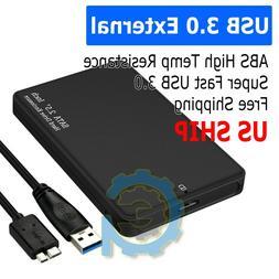 "2.5"" SATA USB 3.0 BLK Hard Drive Disk HDD SSD Enclosure Exte"