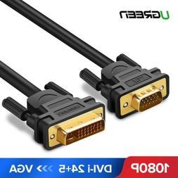 Ugreen DVI to VGA Dual Link Video Cable DVI I 24+5 to VGA HD 15Pin Adapter 1080P