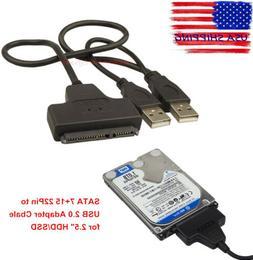 "HDD SATA 7+15 Pin 22Pin to USB 2.0 Adapter Cable for 2.5"" La"