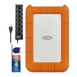 LaCie Rugged USB-C and USB 3.0 1TB Portable Hard Drive - STF
