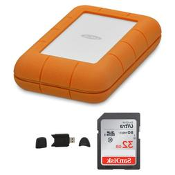Lacie Rugged USB-C 5TB Portable External Hard Drive with 32G