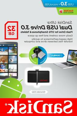 SanDisk Ultra 32GB Dual USB 3.0/microUSB Flash Drive for OTG