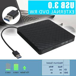 USB 3.0 External CD DVD-RW Writer Slim Drive Burner Reader P