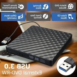 USB 3.0 Slim External DVD RW CD Writer Drive Burner Reader P